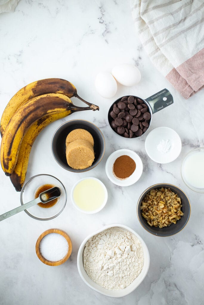 Ingredients for Banana Chocolate Chip Bars