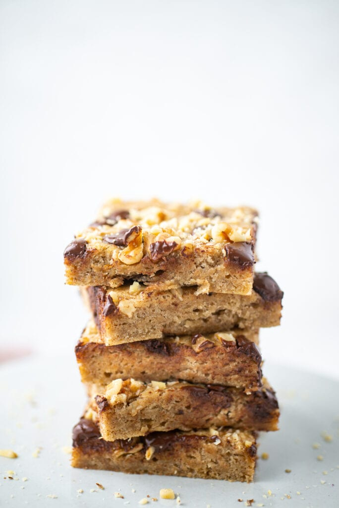 Stack of Banana Bars with Chocolate Chips