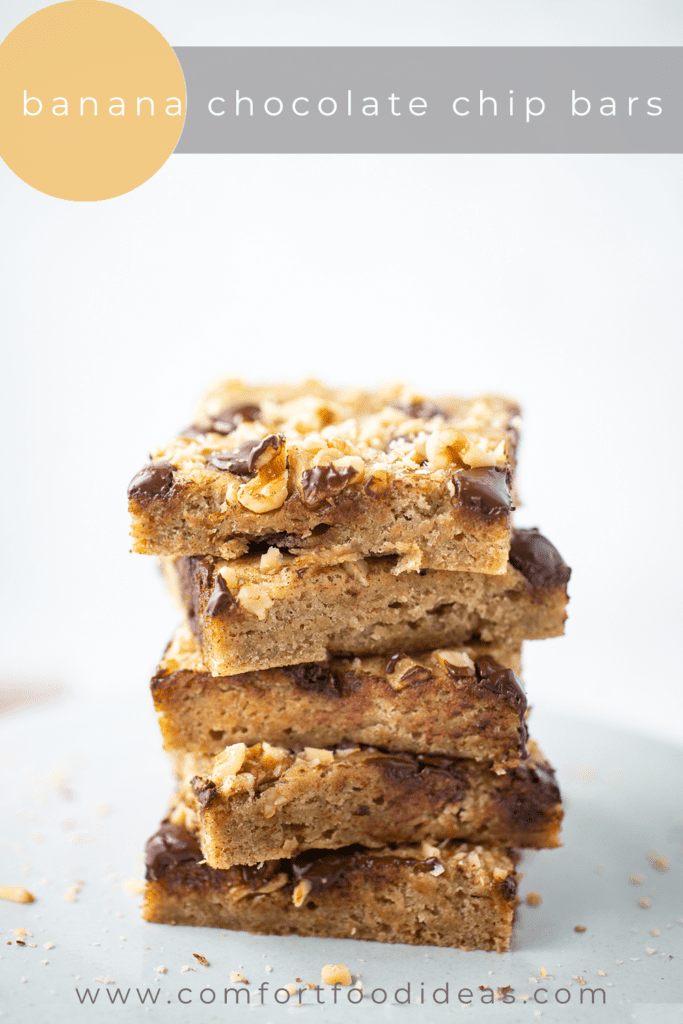5 Banana Chocolate Chip Bars stacked on top of each other