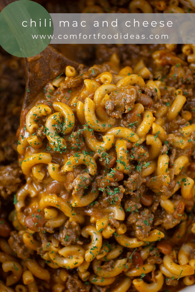 Pinterest Pin for One Pot Chili Mac and Cheese