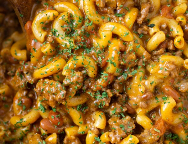 Close-up of Chili Mac and Cheese with a sprinkle of parsley