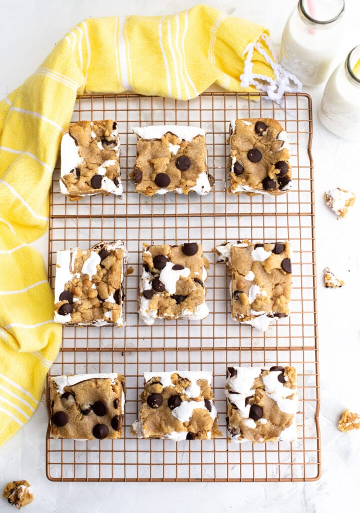 Fluffernutter Cookie Bars shown on a cooling rack