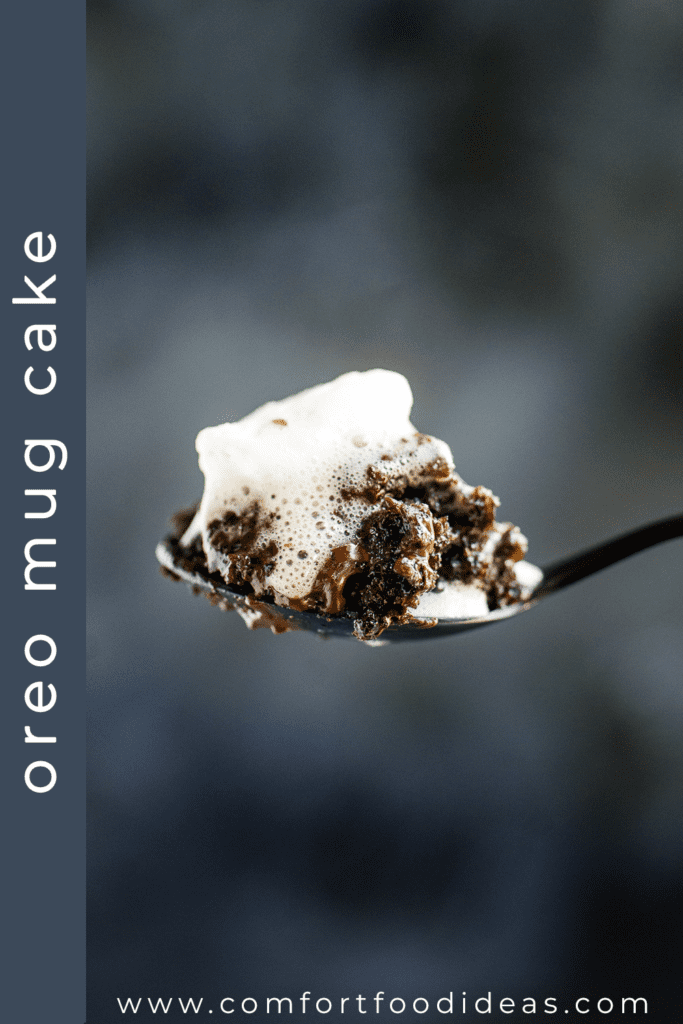 Piece of Oreo Mug Cake on a spoon