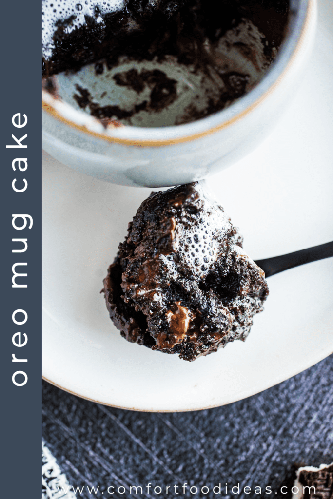 Bite of Oreo Mug Cake on a spoon