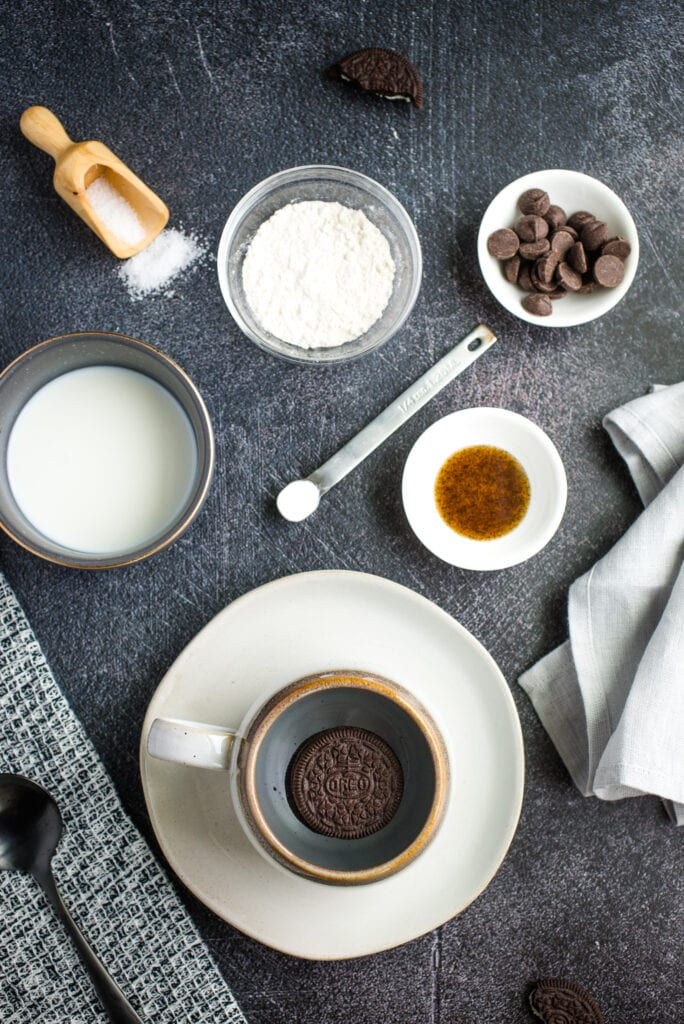 Ingredients shown to make Oreo Mug Cake