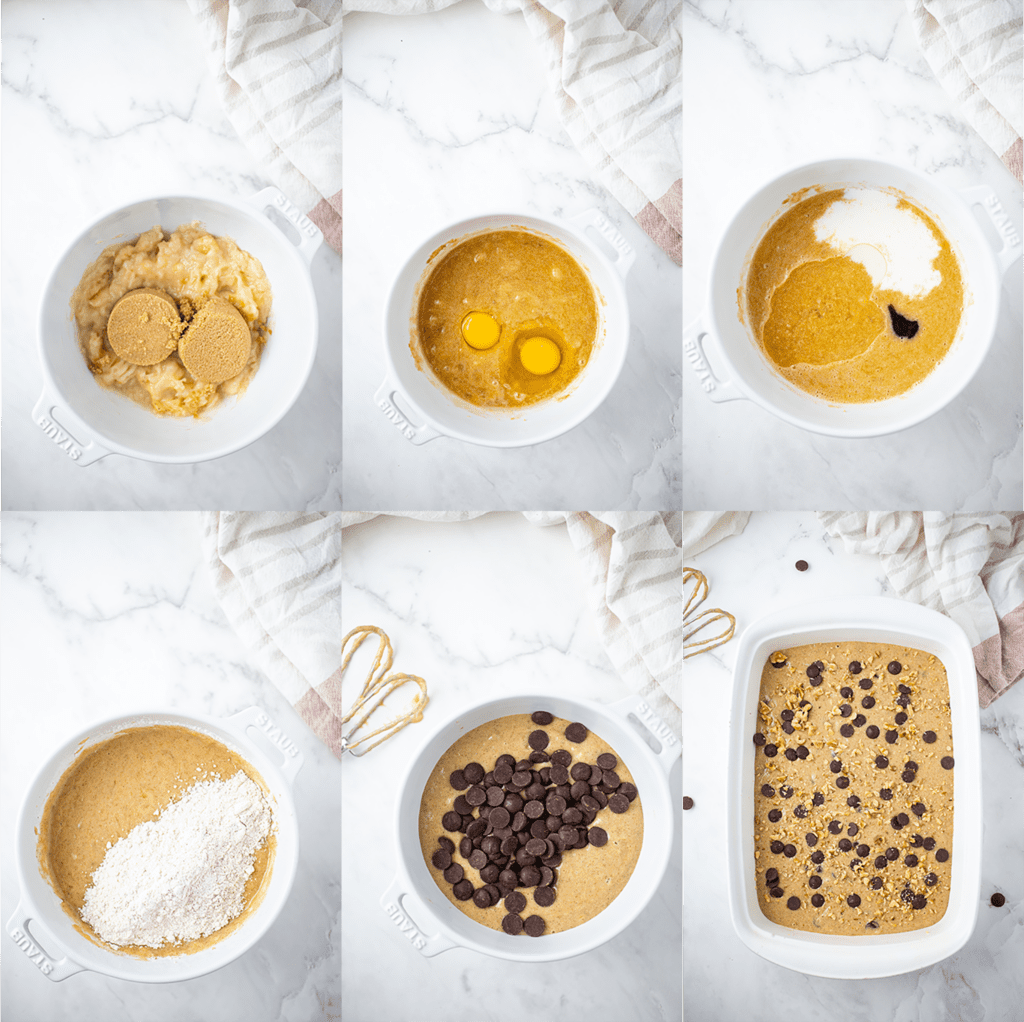 Process Steps to make Banana Chocolate Chip Bars