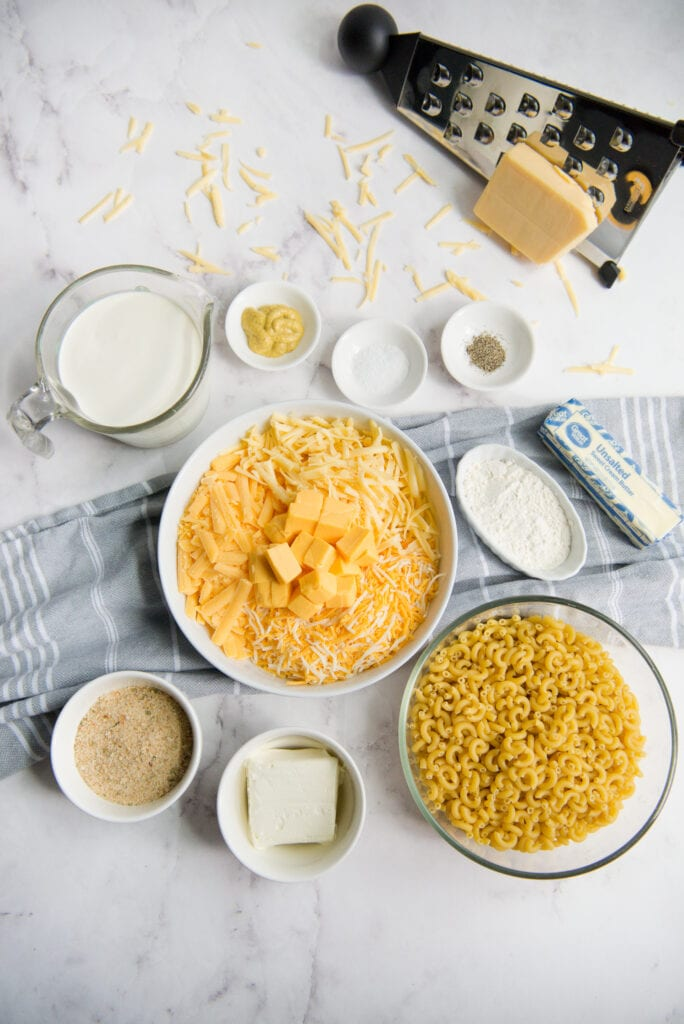 Ingredients to make Creamy Mac and Cheese