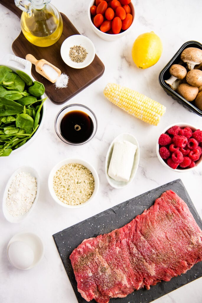 Ingredients to make Balsamic Steak Salad and Fried Goat Cheese
