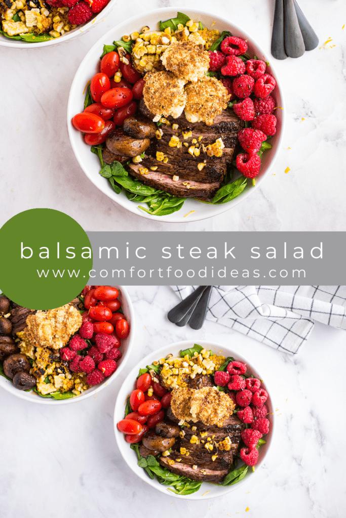 Pinterest Pin for Balsamic Steak Salad