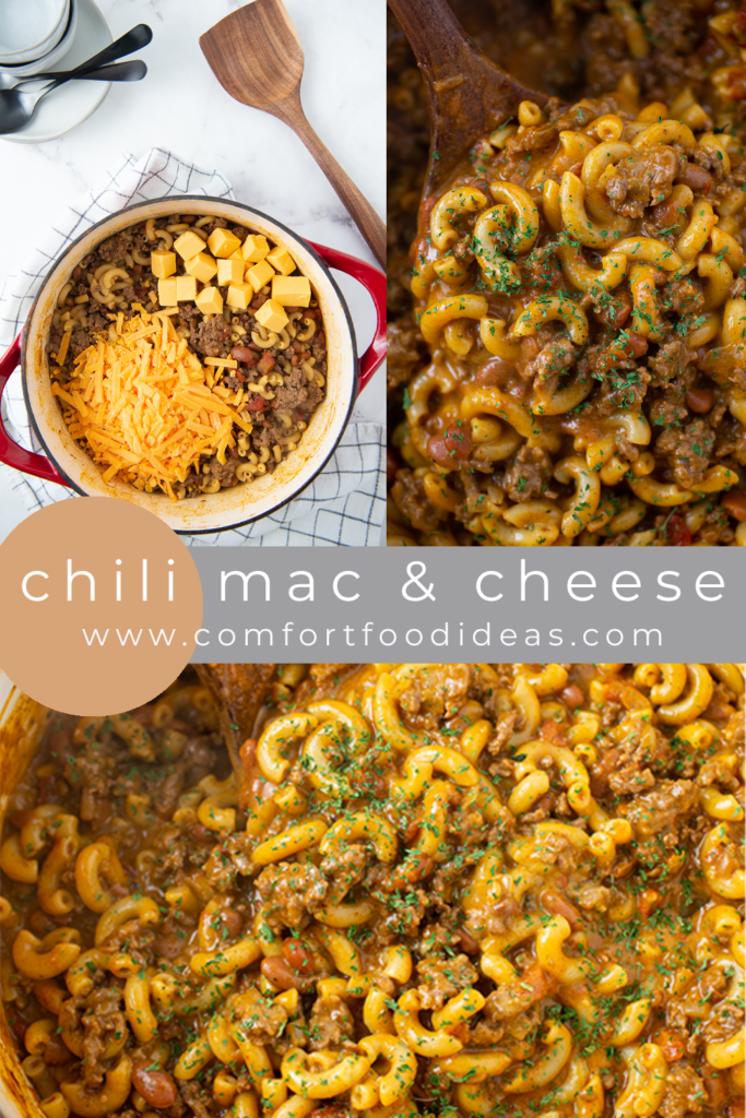 Pinterest Pin for Chili Mac and Cheese