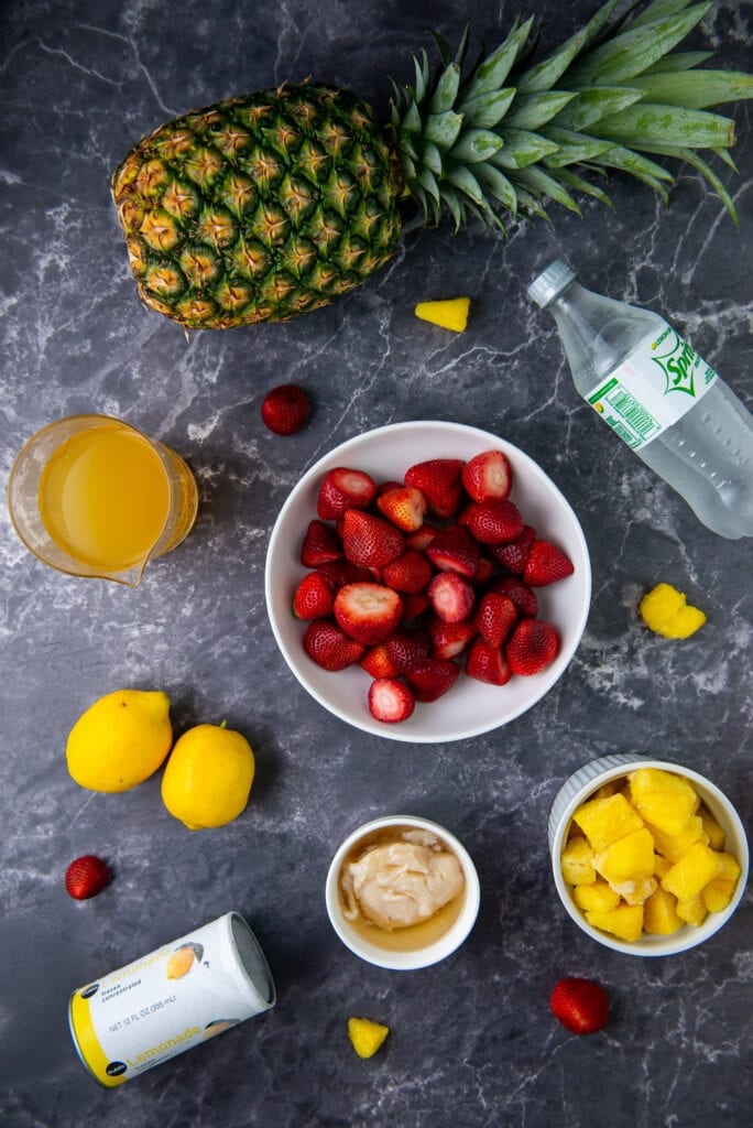 Ingredients to make Frozen Strawberry Pineapple Lemonade