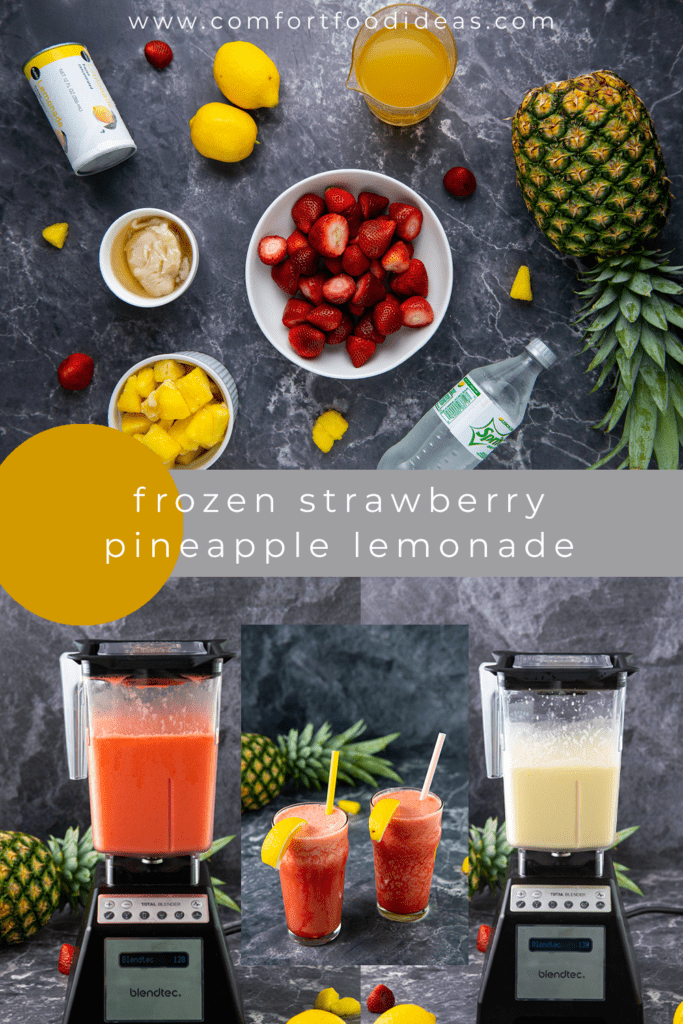 Pinterest Pin for Frozen Strawberry Pineapple Lemonade