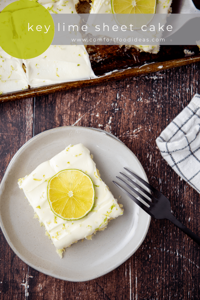 Pin for Key Lime Sheet Cake on a plate with a fork