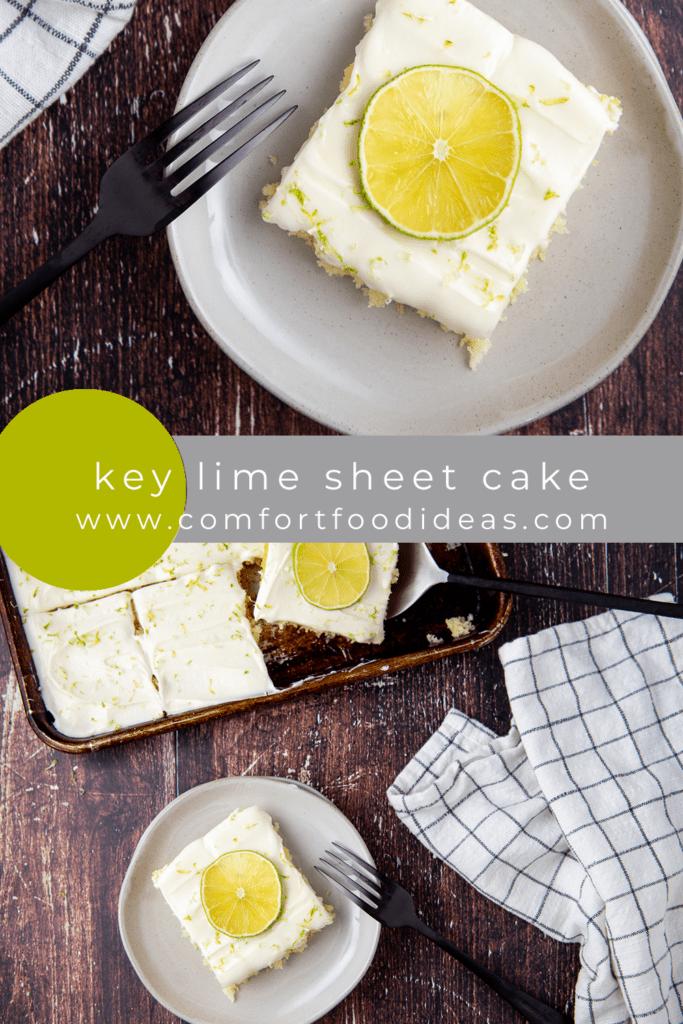 Pin showing Key Lime Sheet Cake