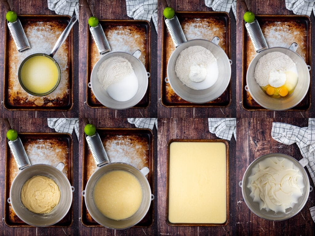 Process Steps to make Key Lime Sheet Cake