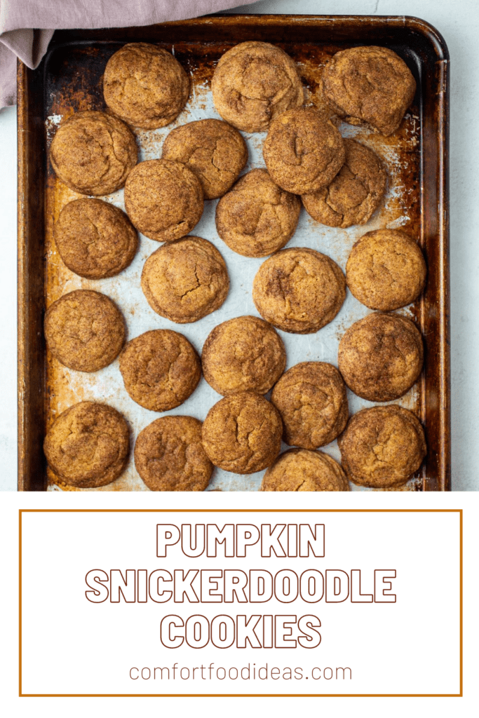 Pinterest pin for showing cookie sheet full of Pumpkin Snickerdoodles