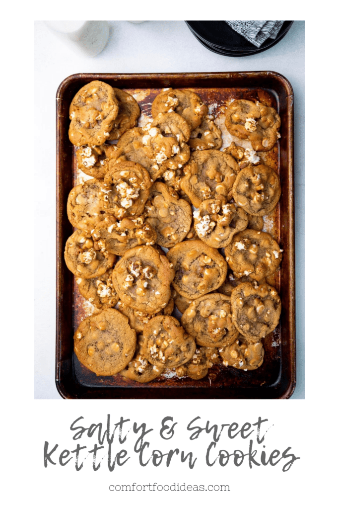 Pinterest Pin for cookies on a sheet pan