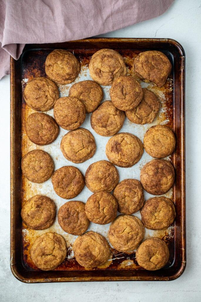 Cookie Sheet full of Pumpkin Snickerdoodles