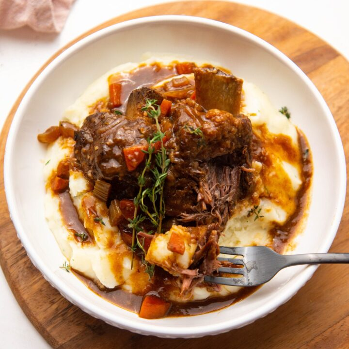 Plate of Braised Short Ribs on a bed of mashed potatoes