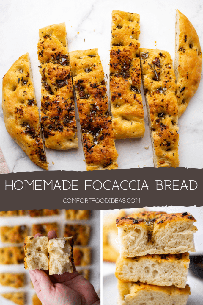 Pinterest Pin for Homemade Focaccia Bread