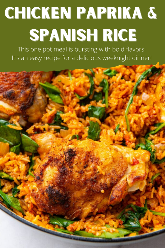 Pinterest Pin for Chicken Paprika and Spanish Rice