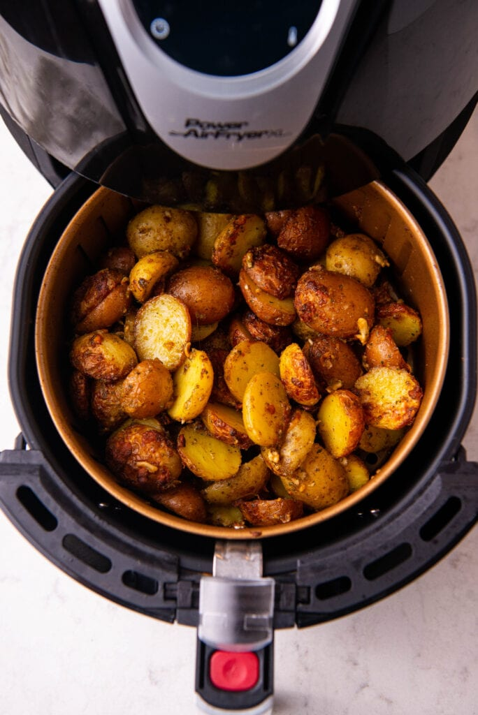 Air Fried potatoes in the fryer basket