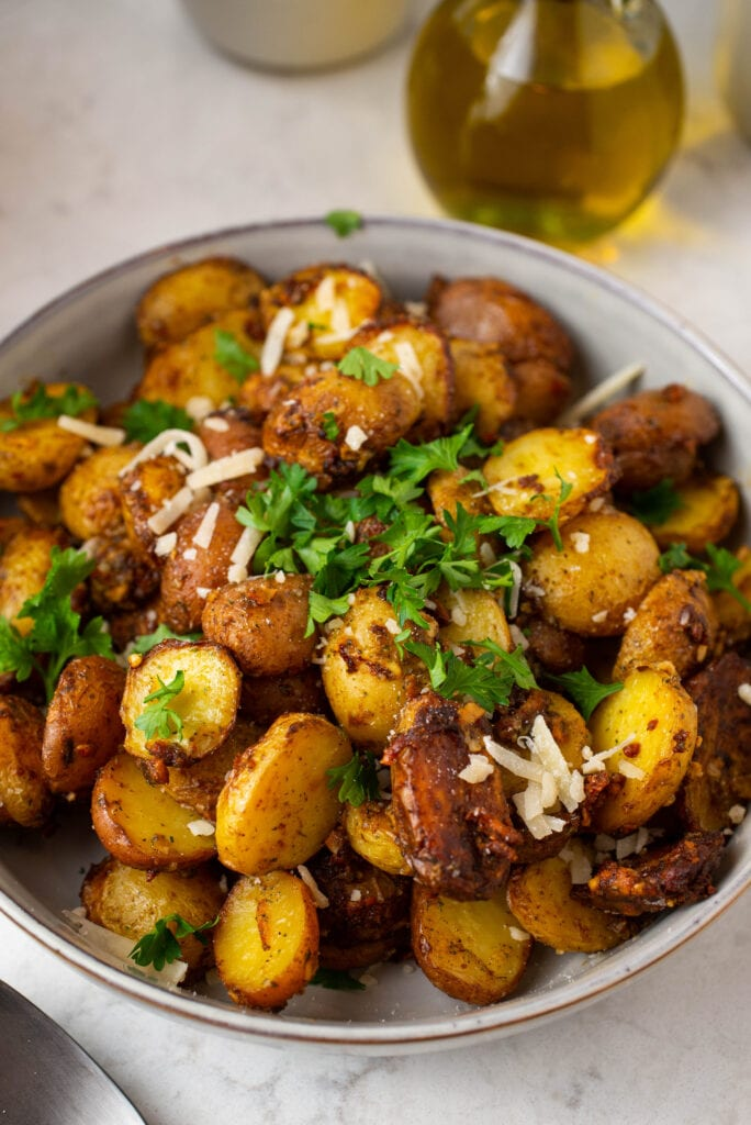 Platter of roasted potatoes