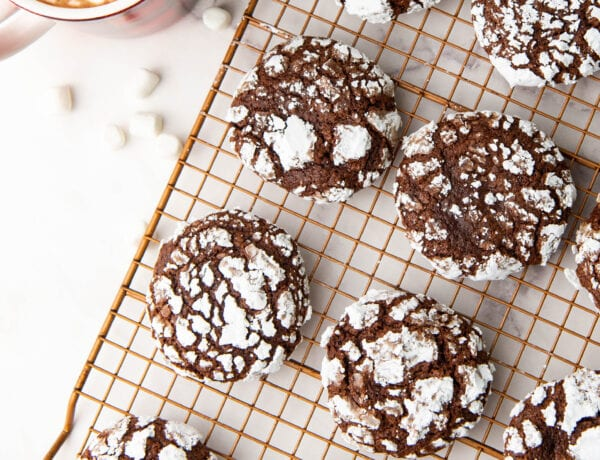 Full tray of Hot Cocoa Crinkle Cookies